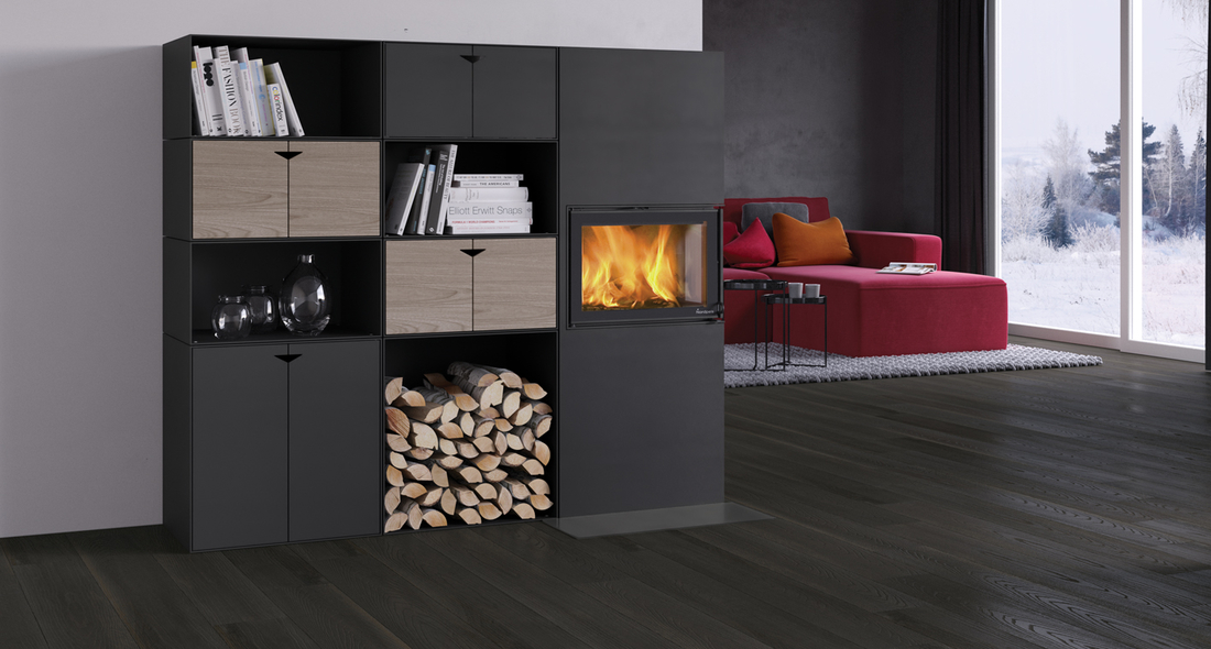 Box black with N-20A  Left - fireplace box from nordpeis