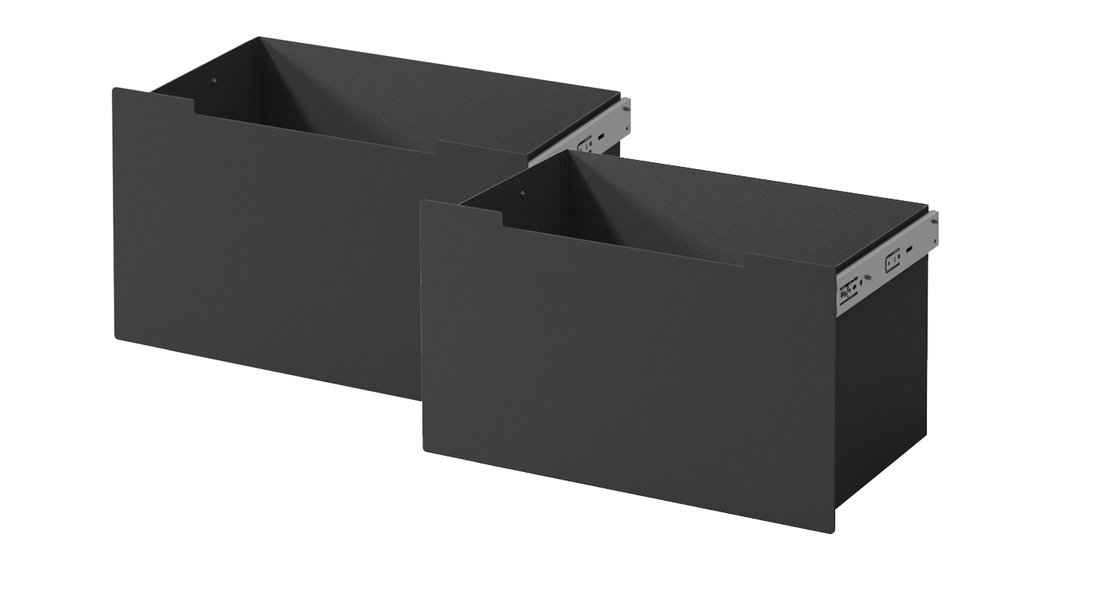 Drawer set-in-black-steel-Me-Bench - Drawers for Me bech in black steel