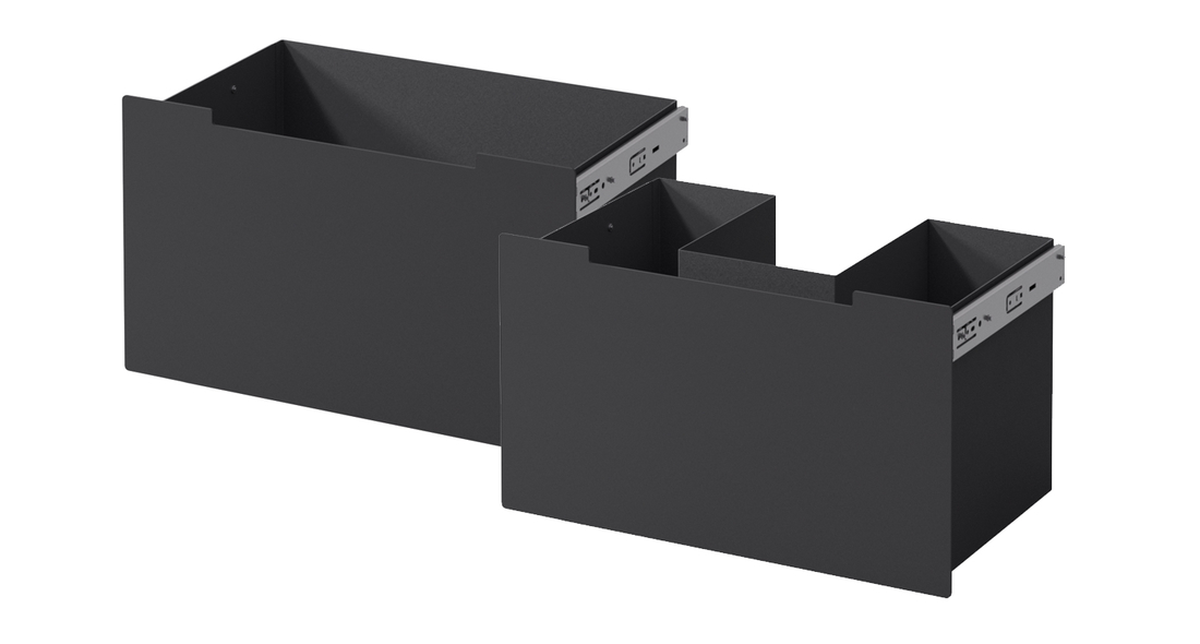Drawers in black steel for supply air - Drawers in black steel for supply air for me bench