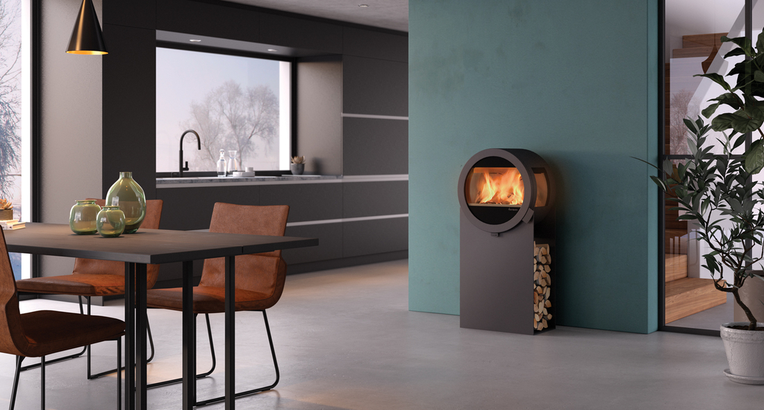 Me Steel with side glass panels  - Round fireplace from Nordpeis