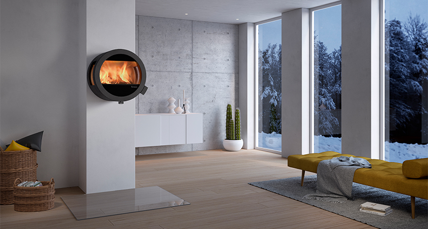Me Wall with side glass panels  - Fireplace – Me wall from Nordpeis with side glass panel